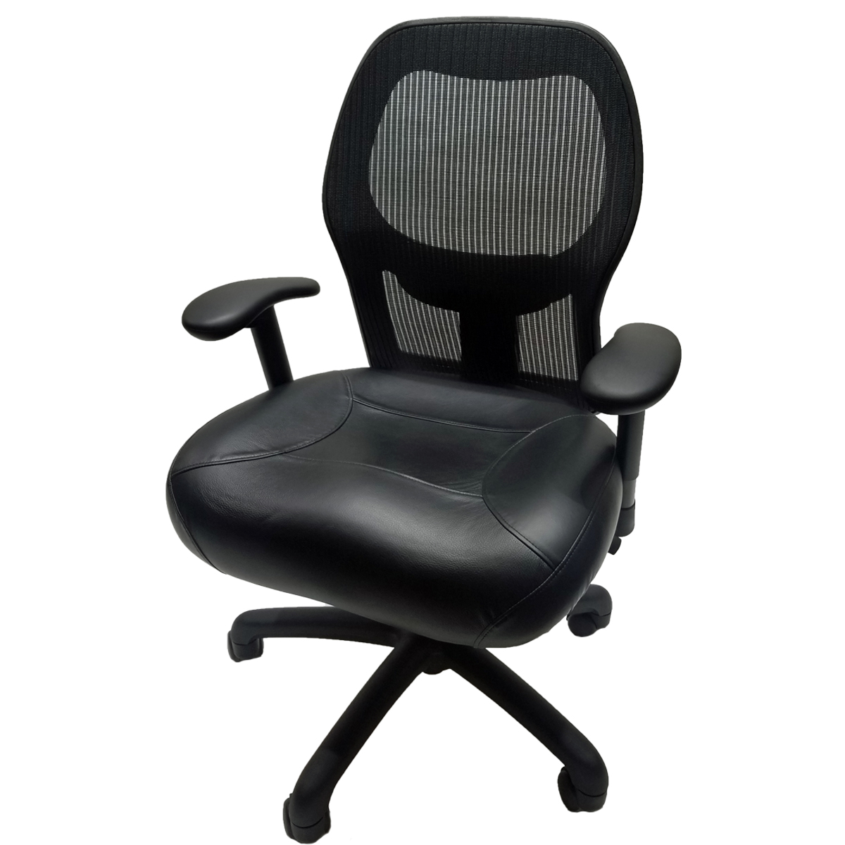 Get ...  sc 1 st  Ch&ion Seating & Get Hooked Up Mesh Top Grain Black Leather - Champion ...